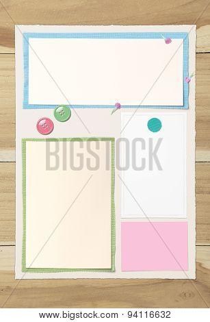 Blank Paper Page Layout On Wooden Table For Put The Somthing
