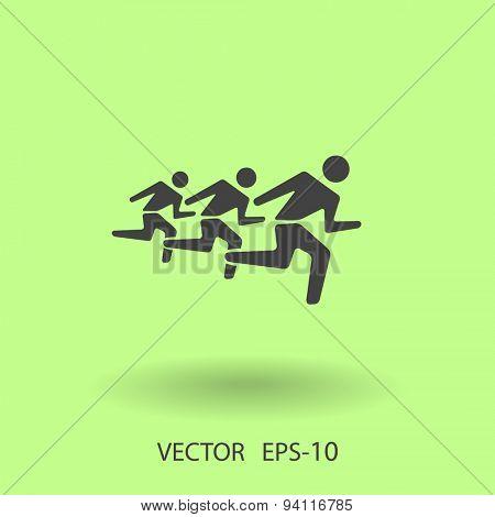 Flat icon of running mans