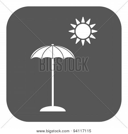 The Parasol Icon. Vacation Symbol. Flat