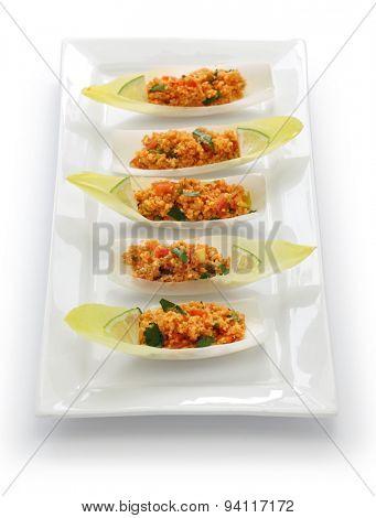 kisir, bulgur wheat salad, turkish cuisine, vegetarian food isolated on white background