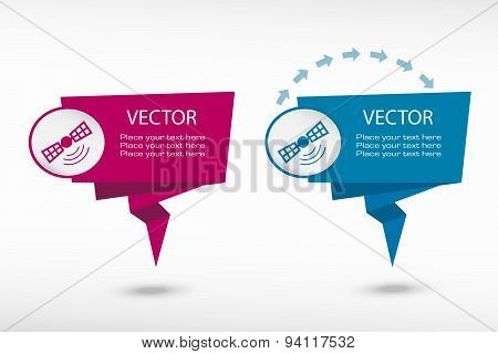 Satellite Icon On Origami Paper Speech Bubble Or Web Banner, Prints