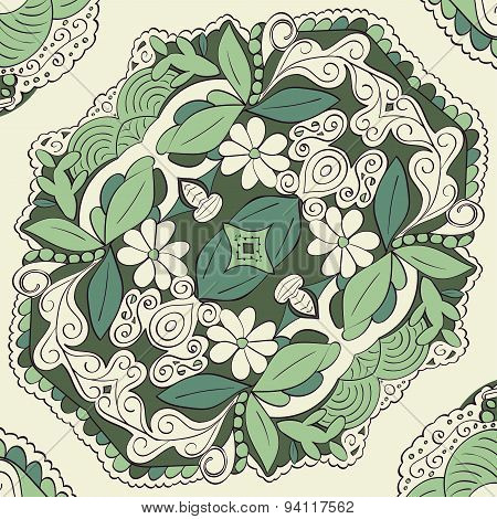 Seamless colored pattern tracery handmade Natural