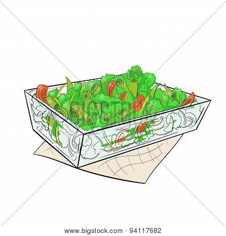 Salad Vital glass dish vector
