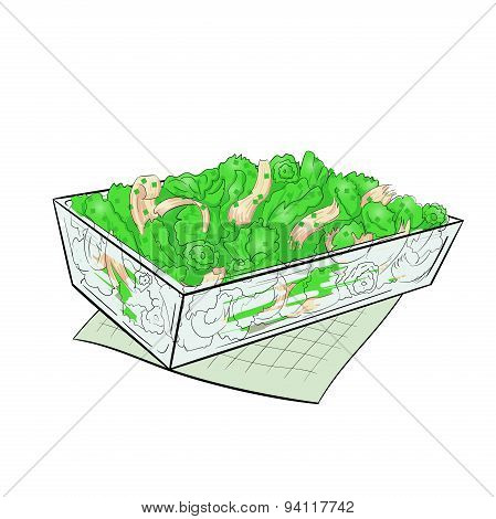 Salad Verde glass dish vector