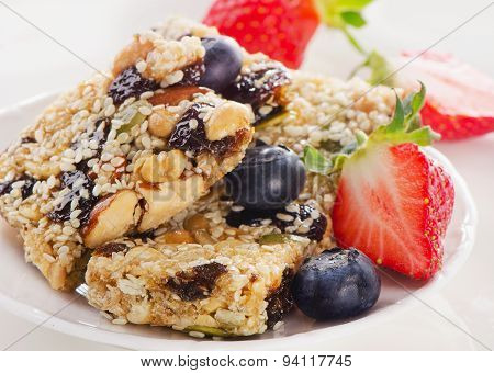 Healthy Fruit And Nut Granola Bars On A Plate