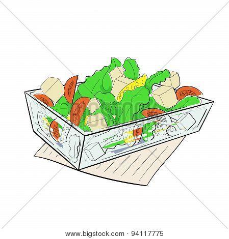 Salad Caesar glass dish vector