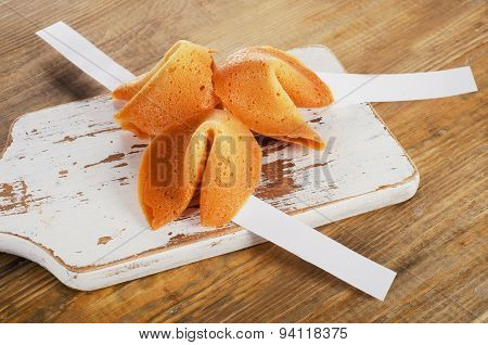 Fortune Cookies  On   Wooden Board.