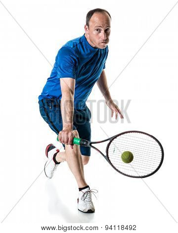 Tennis action shot. Backhand. Studio shot over white.