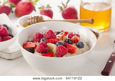 Oatmeal Porridge With Fresh Berries For  A Healthy Breakfast.