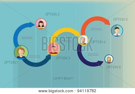 Vector  design template. Arrows and Avatars. Abstract l template with place for your content.
