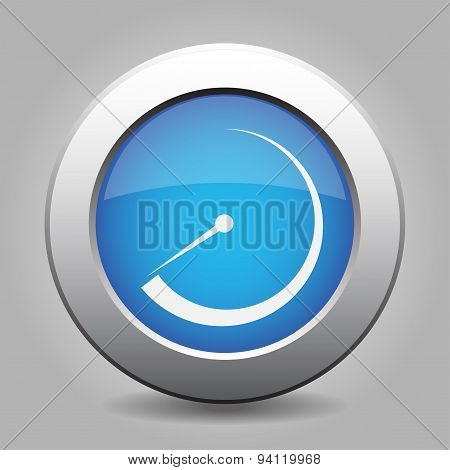 Blue Metal Button With Dial