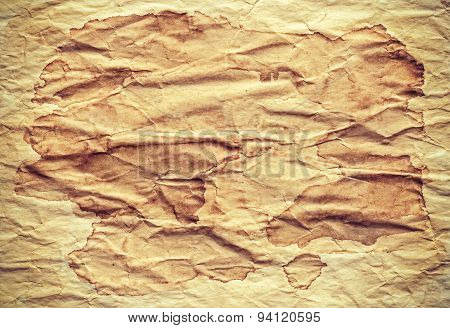 Old Creased Stained Paper Background Or Texture.