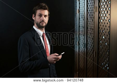 Entrepreneur with smartphone