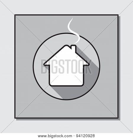 Circle Icon On A Square Base - House