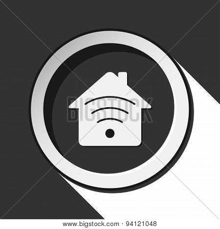 Black Icon With House With Signal And Stylized Shadow