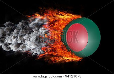 Flag With A Trail Of Fire And Smoke - Bangladesh