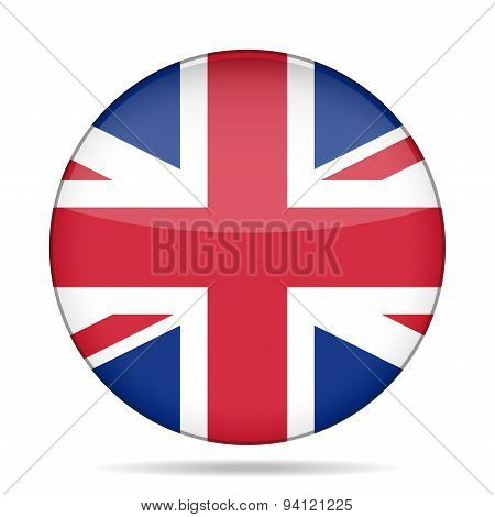 Button With Great Britain Flag