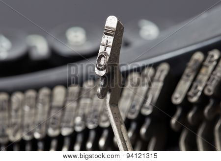 0 And Equal Hammer - Old Manual Typewriter