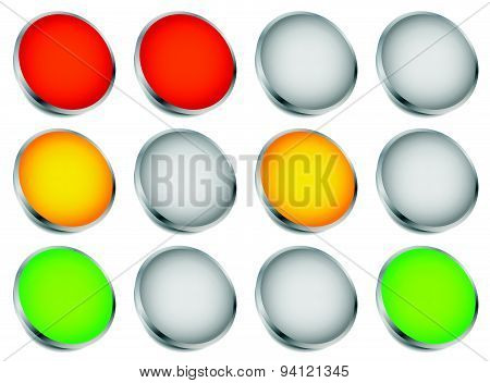 Traffic Light (traffic Lamp, Semaphore) Concept Graphics. Green, Yellow, Red Lights.