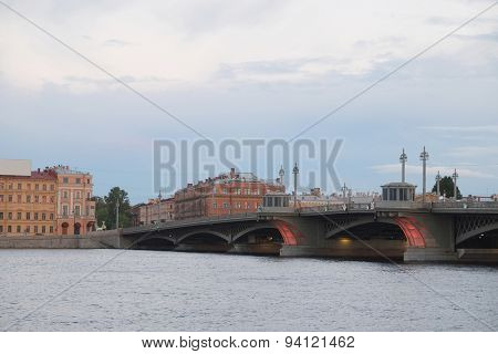Landscape with the image of bridge from the Neva river in St. Petersburg, Russia,