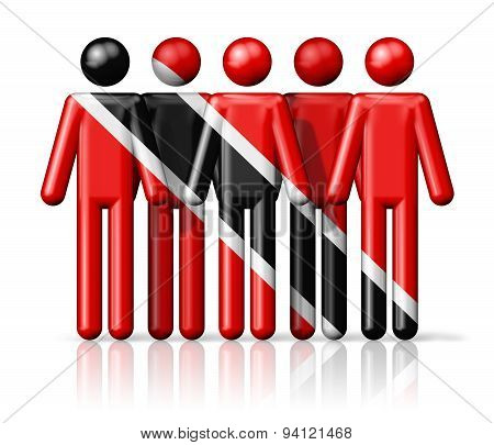 Flag Of Trinidad And Tobago On Stick Figure