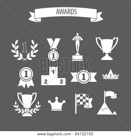 Set Of White Vector Award Success And Victory Icons With Trophies Cups Ribbons Medals Medallions Wre