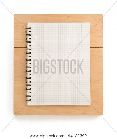 notebook and board isolated on white background