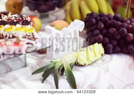 Candy Bar With Fruits And Cakes