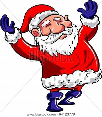 Cartoon happy Santa with arms waving