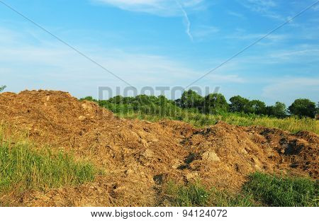 Steaming pile of manure on farm field