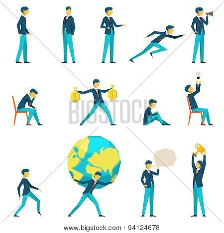 Cartoon businessman character in various poses
