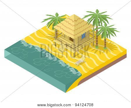 Beach real estate. House with palm trees oceanfront