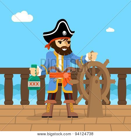 Pirate. Filibuster captain at helm of ship