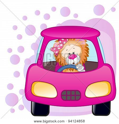 Lion Girl In A Car