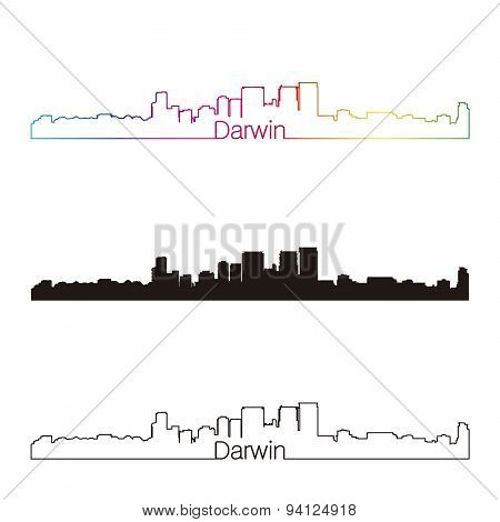 Darwin Skyline Linear Style With Rainbow