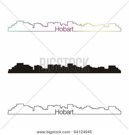 Hobart Skyline Linear Style With Rainbow