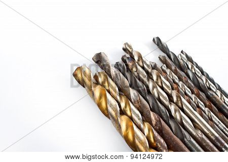 Used Drill Bits On White Background