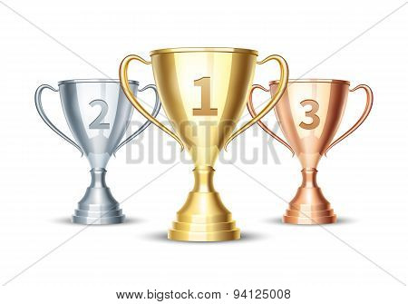 Vector gold, silver and bronze winner cup