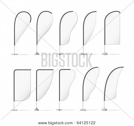 Set of vector blank advertising beach flags