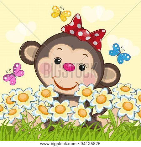 Monkey And Flowers