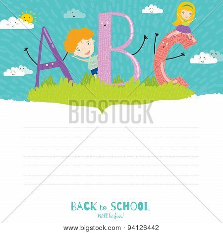 Back to School notes with  smiling happy kids
