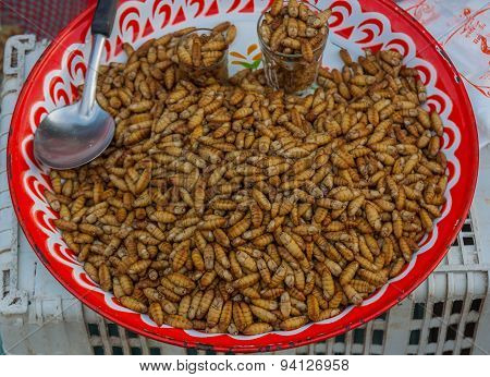 Fried Insects,thailand Market.