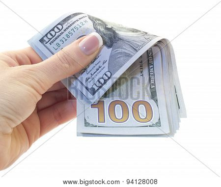 100 Dollars Bills In Hand