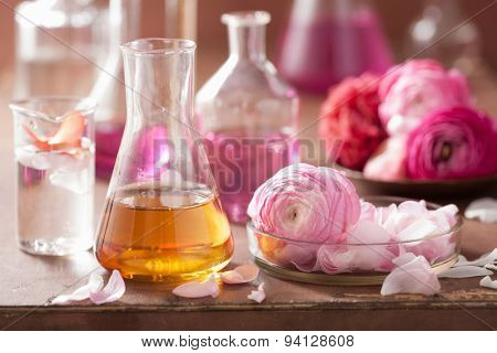 alchemy and aromatherapy set with ranunculus flowers and flasks