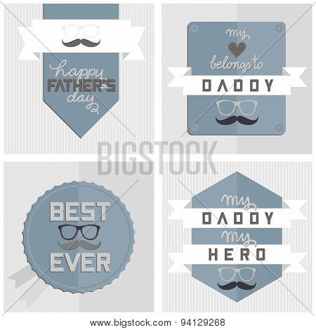 modern hipster happy Fathers Day card set