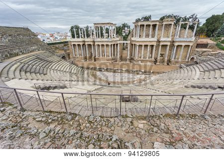 The Roman Theatre proscenium in Merida in Spain. Side View