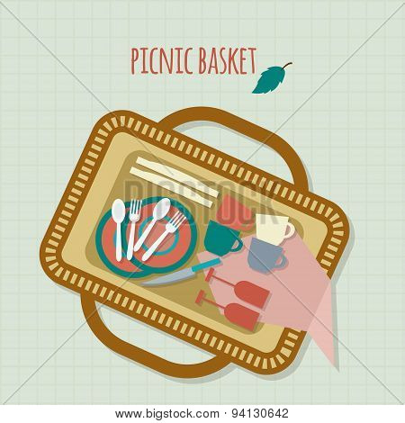 Picnic in park with dishes and cutlery