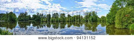 Fulda River In Aueweiher Park  In Fulda, Hessen, Germany (panorama)