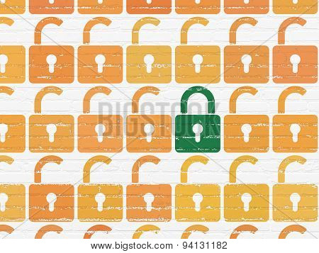 Security concept: closed padlock icon on wall background