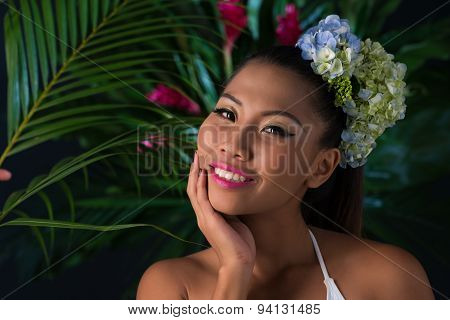 Woman In Tropical Forest